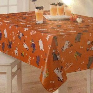 Orange Vinyl Halloween Dog in costume TABLECLOTH
